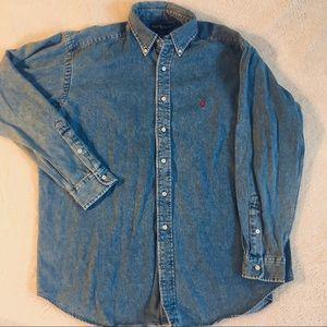 Men's Ralph Lauren Blue Denim Button Down Size L